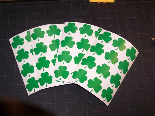 1.5 inch Green Shamrock St Patricks Day Stickers Set of 48 Clover