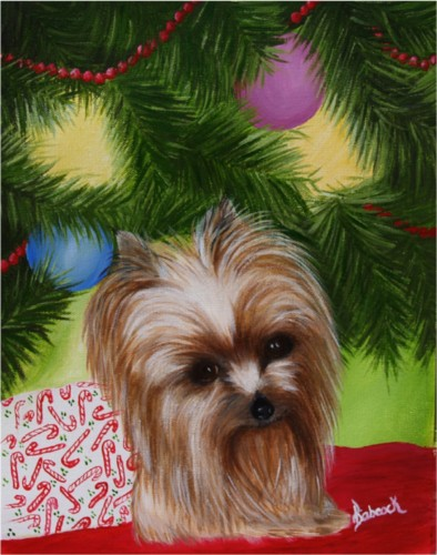 Painting Christmas yorkie.jpg