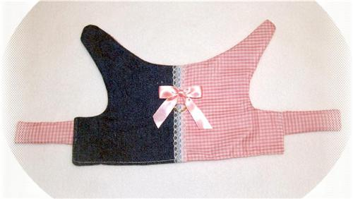 PINK  WHITE Gingham Jean Dog Harness Vest