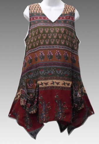 RETRO Hippie Clothes Bohemian Clothing Indian Ethnic Print Festival Pixie Hem Top 1007E