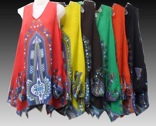 RETRO Hippie Clothes Bohemian Clothing African Rasta Dashiki Print Festival Pixie Hem Top 1007D