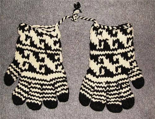 Handmade Knit Hippie Boho Pakistan Ecuador Alpaca Wool Blend Gloves One Size
