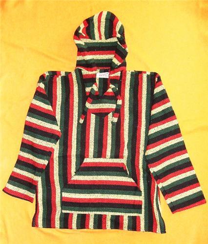 Handmade Hippie Boho Ethnic Retro Festival Mexican BAJA Hoodie Jacket Rasta