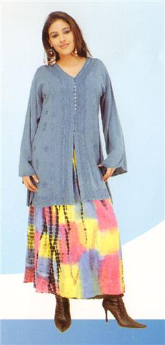 GEETA Hippie Bohemian Gypsy Indian Embroidered Long Stonewashed Kurta Top All Colors