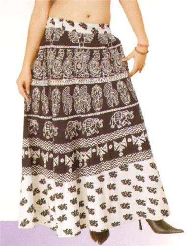 GEETA Hippie Bohemian Gypsy Indian RETRO Ethnic Block Print Wrap Skirt All Patterns Black White