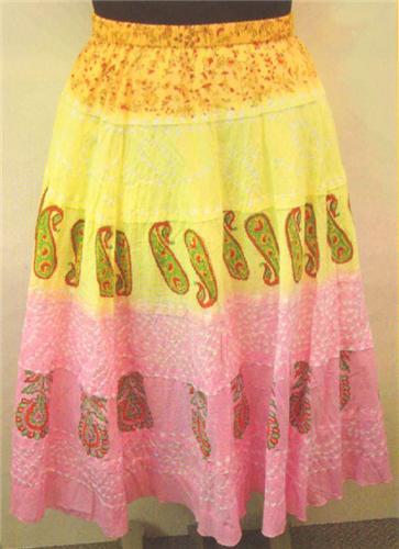 GEETA Hippie Clothes Bohemian Clothing Gypsy India Ethnic Print Bandini Skirt All Colors