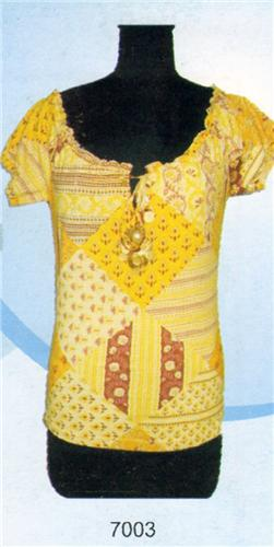 GEETA Hippie Bohemian Gypsy India Peasant Hand Block Print Batik Tee Shirt Coins 7003