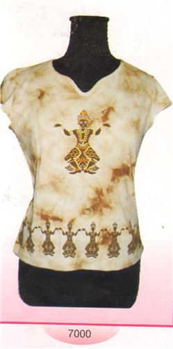GEETA Hippie Bohemian India Goddess Hand Block Print Tie Dye Tee Shirt Beads Assorted Pattern 7000