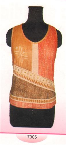GEETA Hippie Bohemian Gypsy India Hand Block Print Batik Tee Shirt Tank Beads 7005