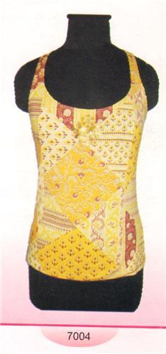 GEETA Hippie Bohemian Gypsy India Racer Back Hand Block Print Batik Tee Shirt Coins 7004