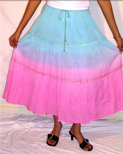 GEETA Hippie Clothes Bohemian Clothing Gypsy Indian Festival Ombre Lace Tier Skirt RETRO 6261