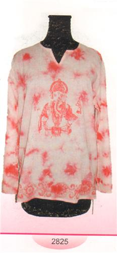 GEETA Hippie Bohemian Gypsy Indian Tie Dye Goddess Window Sleeve RETRO Kurta Top Voile 2825