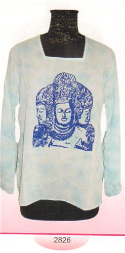 GEETA Hippie Bohemian Gypsy Indian Tie Dye Goddess Square Neck RETRO Kurta Top Voile 2826