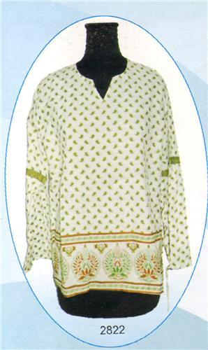 GEETA Hippie Bohemian Gypsy Indian Ethnic Print Window Sleeve RETRO Kurta Top Voile 2822