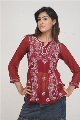 GEETA Hippie Bohemian Gypsy Indian Embroidered Sequin Sheer Lagenlook Kurta 602