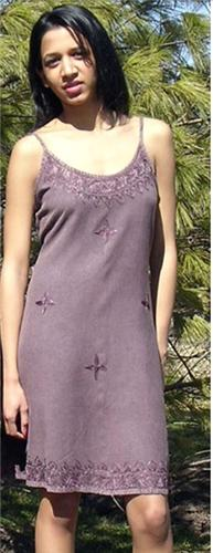 GEETA Hippie Bohemian Gypsy Indian Festival Ethnic Embroidered Stonewashed Cami Short Dress 5087