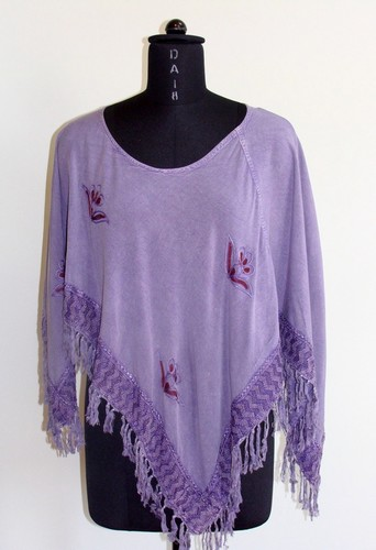 GEETA Hippie Bohemian Festival Gypsy Indian Embroidery Two Way Fringe Shawl Poncho Top 2643
