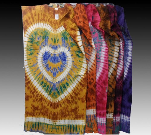 RETRO Hippie Clothes Gypsy Bohemian Festival Ethnic LOVE Heart Tie Dye Caftan Dress KC5003