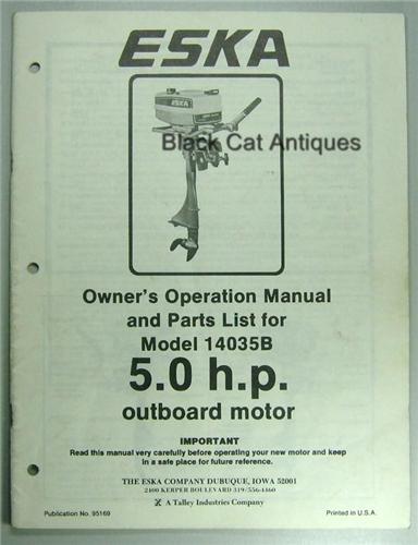 original eska outboard motor owners manual  u0026 parts list 5