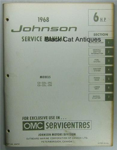 1968 omc johnson outboard motor service manual 6 hp cd. Black Bedroom Furniture Sets. Home Design Ideas
