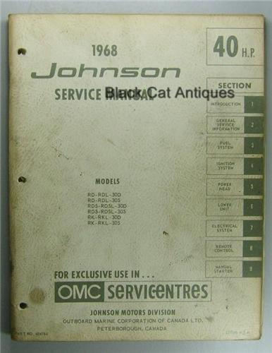 original 1968 omc johnson outboard service manual 40 hp. Black Bedroom Furniture Sets. Home Design Ideas