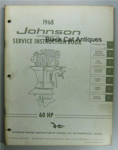 original 1968 omc johnson outboard service instruction. Black Bedroom Furniture Sets. Home Design Ideas