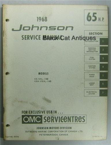 1968 omc johnson outboard service manual 65 hp models vx. Black Bedroom Furniture Sets. Home Design Ideas