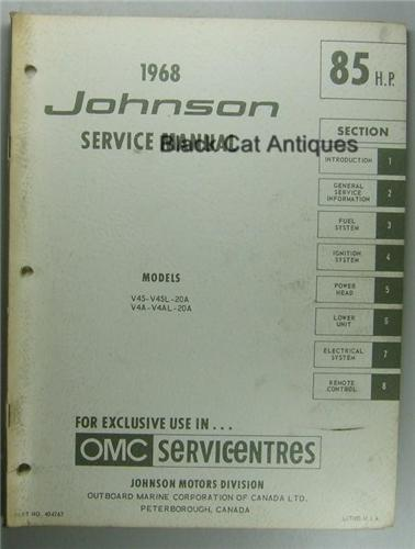 1968 omc johnson outboard service manual 85 hp v4s 20a. Black Bedroom Furniture Sets. Home Design Ideas