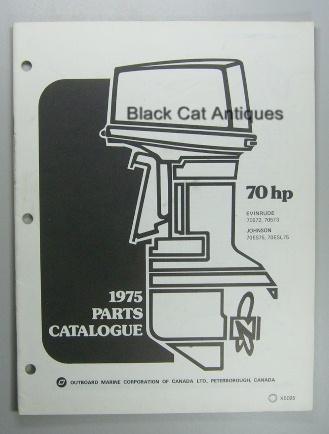 original 1975 omc parts catalog 70 hp models evinrude. Black Bedroom Furniture Sets. Home Design Ideas