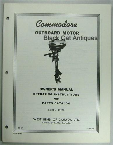 Vintage1961 West Bend Outboard Owner Parts Manual 2 Hp