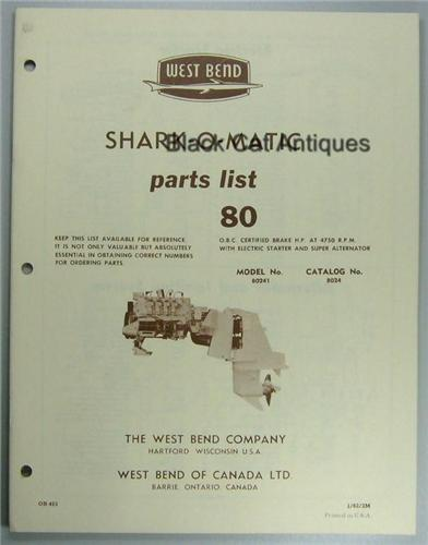 1962 West Bend Outboard Motor Parts List 80 Hp Shark O
