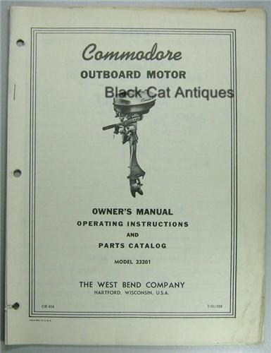 1961 West Bend Owners Manual Parts Catalog Commodore