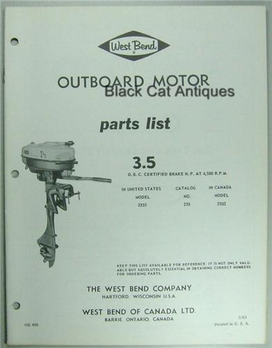 Original 1963 West Bend Outboard Motor Parts List 3 5hp