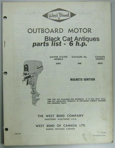1963 West Bend Outboard Motor Parts List 6 Hp Models Us