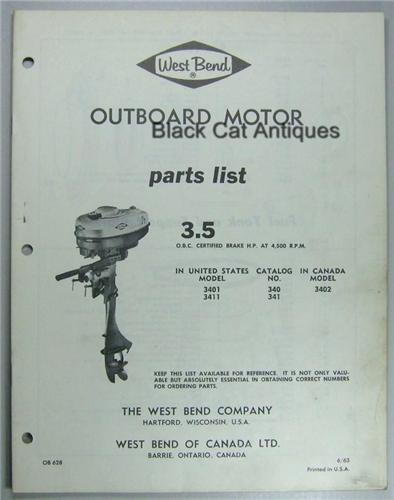 1963 west bend outboard motor parts list 3 5hp models usa