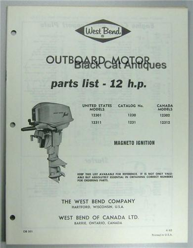 1963 West Bend Outboard Motor Parts List 12hp Models Us