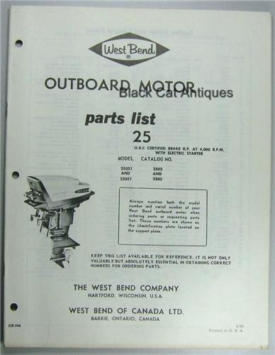 Original 1963 West Bend Outboard Motor Parts List 25hp