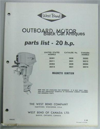 Original 1963 West Bend Outboard Motor Parts List 20 Hp 8