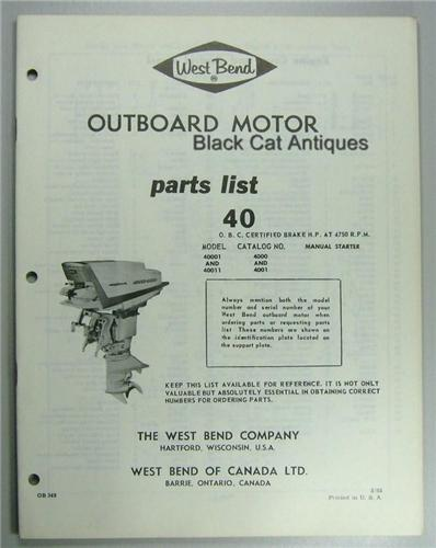 Original 1963 West Bend Outboard Motor Parts List 40 Hp