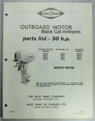 Original 1963 West Bend Outboard Motor Parts List 30 Hp