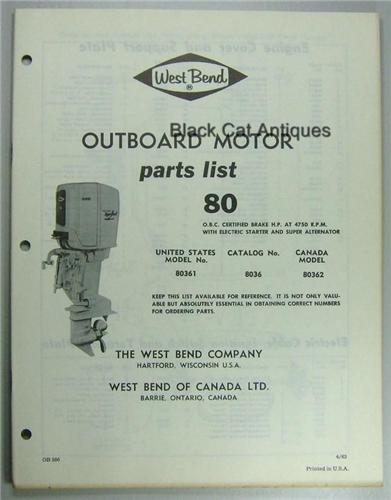 Original 1963 West Bend Outboard Motor Parts List 80 Hp