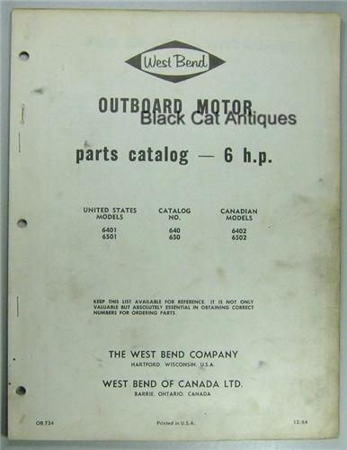1964 West Bend Outboard Motor Parts List 6 Hp Models Us