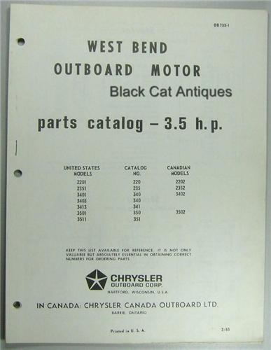 Original 1965 West Bend Outboard Motor Parts List 3 5 Hp 7