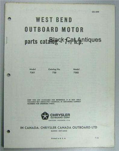 Original 1965 West Bend Outboard Motor Parts List 7 5 Hp