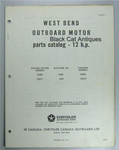 1965 West Bend Outboard Motor Parts List 12 Hp Us 12301