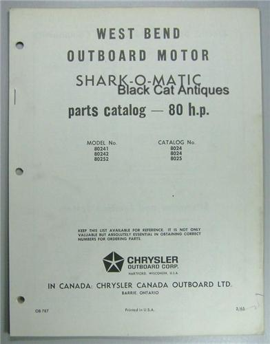 1965 West Bend Outboard Parts List 80 Hp Shark O Matic