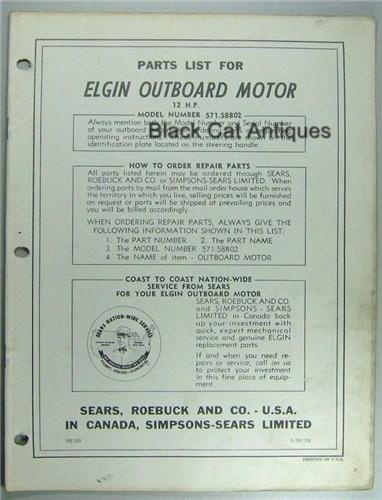 Original 1959 Sears Elgin Outboard Motor Parts List For 12 HP Model 571.58802 Used