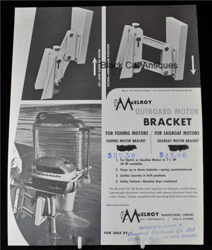 McElroy Outboard Motor Bracket For Fishing & Sailing Sell Sheet with Prices