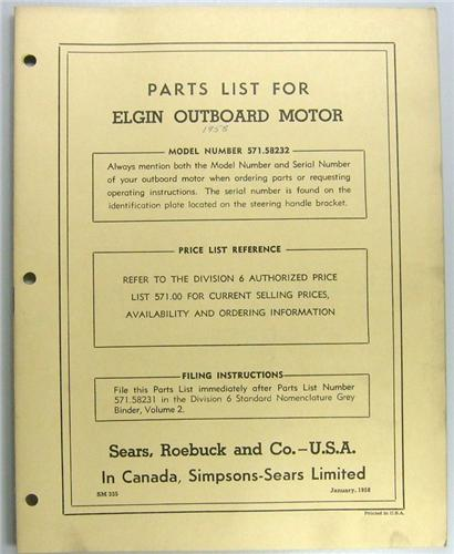1958 elgin outboard motor parts list 2 hp model for Us electric motor serial number lookup