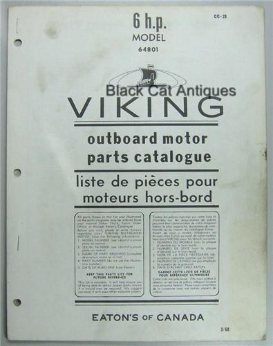 Original 1969 Eatons Viking 6 HP Outboard Motor Parts Catalog Model 64801 Used